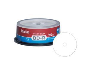 Imation Blu-ray BD-R DL Dual Layer 6X 50GB White Inkjet Hub Printable Recordable Blank Media Disc with Spindle Packing (25 Pack)