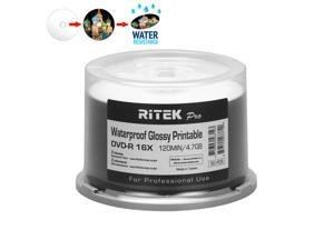 50 Pack Ritek Pro (Professional Grade) DVD-R 16X 4.7GB AZO Dye (MID MXL RG04) Watershield Water Resistant Glossy White Inkjet Hub Printable Blank Recordable Disc