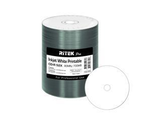 100 Pack Ritek Pro (Professional Grade) CD-R 52X 700MB White Inkjet Hub Printable Blank Media Recordable Disc