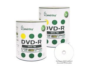 Smartbuy DVD-R 16X 4.7GB 120Min White Top Music Video Data Recordable Disc (200 Packs)