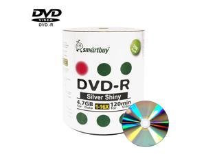 Smartbuy DVD-R 16X 4.7GB 120Min Shiny Silver Top Music Video Data Recordable Disc (100 Packs)