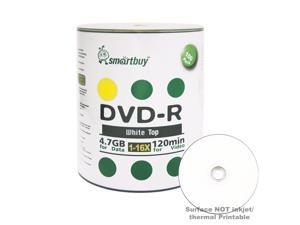 100 Pack Smartbuy 16X DVD-R 4.7GB 120Min White Top Blank Media Recordable Disc