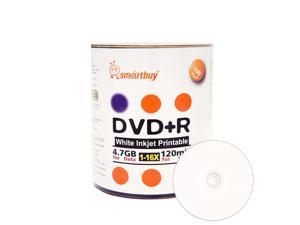100 Pack Smartbuy 16X DVD+R 4.7GB 120Min White Inkjet Hub Printable Blank Media Recordable Disc
