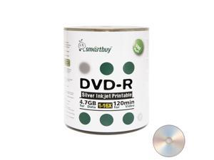 100 Pack Smartbuy 16X DVD-R 4.7GB 120Min Silver Inkjet Hub Printable Blank Media Recordable Disc