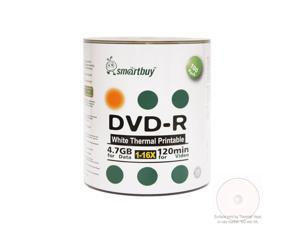 100 Pack Smartbuy 16X DVD-R 4.7GB 120Min White Thermal Hub Printable Blank Media Recordable Disc