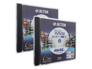 Ritek BD-RE XL Rewritable BDXL 100GB Triple Layers 2X White Inkjet Hub Printable Blank Disc (2 Packs)