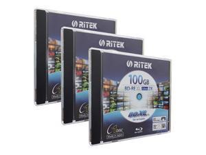 Ritek BD-RE XL Rewritable BDXL 100GB Triple Layers 2X White Inkjet Hub Printable Blank Disc (3 Packs)