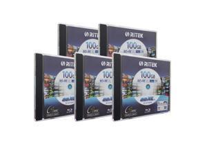 Ritek BD-RE XL Rewritable BDXL 100GB Triple Layers 2X White Inkjet Hub Printable Blank Disc (5 Packs)