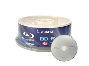 Ridata 4X BD-R BDR 25GB Single Layer Blue Blu-ray Logo Recordable Blank Media Disc with Spindle Packing (25 Pack)