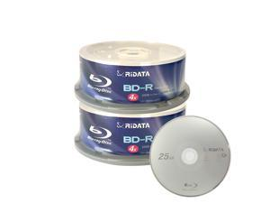 Ridata 4X BD-R BDR 25GB Single Layer Blue Blu-ray Logo Recordable Blank Media Disc with Spindle Packing (50 Pack)