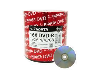 Ridata DVD-R 16X 4.7GB 120 Min Silver Logo Top Blank Data Video Media Recordable Disc (100 Pack)