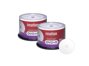 Imation DVD+R DL Dual Layer 8X 8.5GB DVD Plus R Double Layer White Inkjet Hub Printable Blank Media Data Movie Game Recordable Disc (100 Pack)