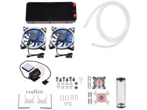 DIY 240mm Cooler CPU/GPU Block Pump Reservoir with LED DIY 240mm Water Cooling Kit Fan Heat Sink Computer Water Cooling Connectors Kit, All-in-one Liquid CPU Cooler Kit