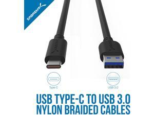 Sabrent [3-Pack] 22AWG Premium 6ft USB-C to USB A 3.0 Sync and Charge Cables [Black] (CB-C3X6)