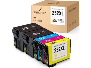 SAILNER  Ink Cartridge Replacement for Epson 252 XL 252XL use with Workforce WF-7710 WF-7720 WF-7210 WF-3640 WF-3620 WF-7620 WF-7210 WF-7610 (2 Black 1 Cyan 1 Magenta 1 Yellow, 5-Pack)
