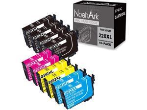 NoahArk  Ink Cartridge Replacement for Epson 220XL 220 XL T220XL High Yeild for Workforce WF-2760 WF-2750 WF-2630 WF-2650 WF-2660 XP-320 XP-420 (Black, Cyan, Yellow, Magenta, 10-Pack)