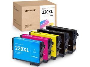 ZIPRINT  Ink Cartridge Replacement for Epson 220XL 220 XL T220XL (2 Black, 1 Cyan, 1 Magenta, 1 Yellow, 5-Pack)
