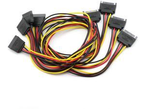 ZRM&E 4PCS SATA 15-Pin Power Adapter Line SATA 15 Pin Male to SATA 15 Pin Female Power Extension Cable SATA to SATA Connector