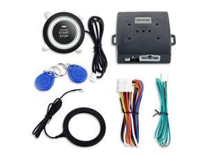 Universal car alarm system with RFID transponder immobilizer, push button start and alarm/disarm, car status memory