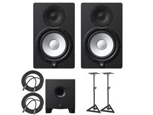 Yamaha HS7 100-Watt Series Monitor (Black, 2-Pack) Bundle with Yamaha HS8 Studio Subwoofer, Two Adjustable Stands and Two 25' XLR Cables