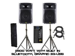 """KALO 215ABT 15"""" Active/Powered DJ/PA Wireless Speakers Totaling 2600 Watt (Both) With Built In Bluetooth, Graphic EQ - (2) XLR CABLE 15FT - (2) Heavy Speaker Stand W/ Bag"""