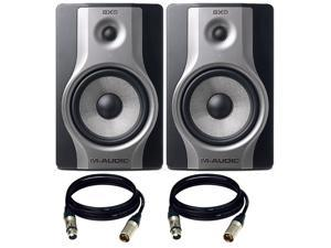 M-Audio BX8 Carbon  Speaker Studio Monitors for Music Production and Mixing. W/ Free XLR Cables.