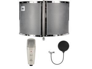 Talent VB1 Folding Portable Vocal Isolation Booth. With Behringer C-1 Mic and Pop Filter.
