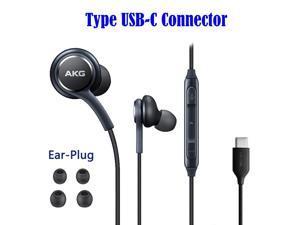 AKG Type C Earphone USB-C Earphone Stereo Headsets Headphones Earphones & Mic for Samsung S9 S10 S20 Note 8 9 10 Plus, Black