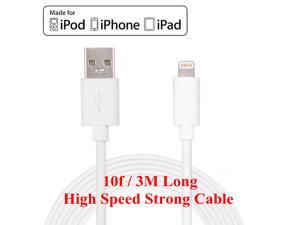 Extra Long 3m/10ft Lightning to USB Charge and Sync Data Cable for Apple iPhone 6s/6s Plus/6/6 Plus/5S/5C/5, iPad Mini 1/2/3, iPad4/Air/Air 2, White