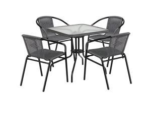 28'' Square Glass Metal Table with Gray Rattan Edging and 4 Gray Rattan Stack Chairs