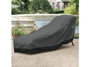 "Outdoor Patio Chaise Lounge Chair Cover 78"" Length Dark Grey with Black Hem - 100% Waterproof Winter Storage Cover Deck Patio Backyard Veranda Porch Chair Covers"