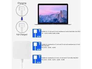 Mac Pro Charger 85W Superior Heat Control Power Adapter Magsafe 2 Magnetic T-Tip (85T) Laptop Replacement for MacBook Pro 13/15 /17 Inch by