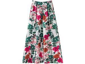 HNTDG Ladies Spring and Summer Printed Casual Skirt Retro Big Swing Skirt High Waist Ladies Long Skirt
