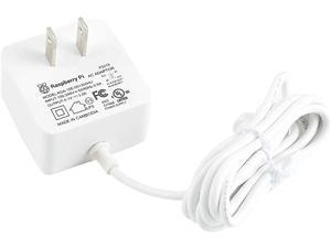 pzsmocn 1.5m Cable Length Power Supply White,for Raspberry Pi Model 4 B,Official USB Type-C Power Supply,5V 3A AC 100-240V (50/60Hz)