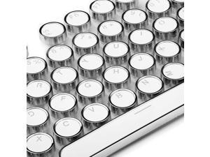 104 Key E Element Plating Metal Round Steampunk Mechanical Keyboard Keycaps Personality Transparent Key Cap,White