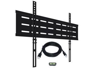 """KORAMZI KWM1664F-PRO Fixed TV Wall Mount with Smart Locking System Technology 600x400 VESA Fits 32-70"""" TV's including Bubble Level & 10 ft. HDMI Cable Pro Series (Black)-New"""