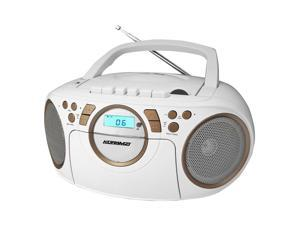 KORAMZI CD705CWH Portable CD/MP3/USB Radio Cassette Recorder (White/Gold) - New