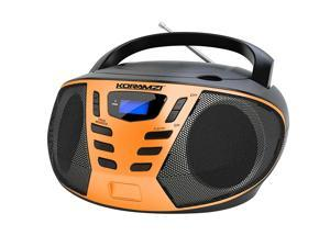 KORAMZI Portable CD Boombox with AM/FM Radio, Top Loading CD Player, Telescopic Antenna, LCD Display for Indoor & Outdoor, Offices, Home, Restaurants, Picnics, School , Camping CD55-BKO (Black/Orange)