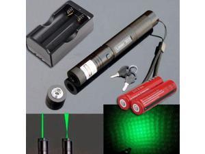 10Miles 532nm 303 Green Laser Pointer Lazer Pen Beam Light +2*18650+Dual Charger