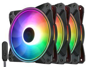 DEEPCOOL CF 120 PLUS (3 in 1) Addressable RGB Halo Ring PWM Fan - with Wired ARGB Controller (Angel-Eye Mode Capable) or Direct ARGB Motherboard Sync