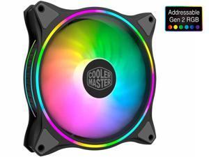 Cooler Master MasterFan MF140 Halo [Addressable Gen 2 RGB] - Duo-Ring 2nd Gen. ARGB Lighting 140mm PWM Fan with 24 Independently-Controlled LEDS, Absorbing Rubber Pads, PWM Static Pressure