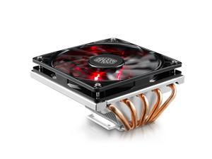 """Cooler Master GeminII M5 LED - 2U Low Profile CPU Cooler with 5 Direct Contact Heatpipes & XtraFlo 120 Slim """"Fire Red"""" LED PWM Cooling Fan"""