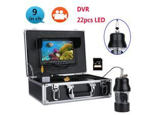 Waterproof 20m Professional Underwater Fishing Video Camera Fish Finder 9 Inch DVR Recorder Color Screen  22 LEDs 360 Degree Rotating