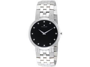 Movado Faceto Mens Diamond Black Dial Swiss Quartz Dress Watch 0606237