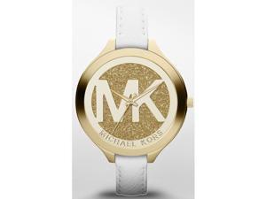 Michael Kors Women's 42mm White Calfskin Stainless Steel Case Watch MK2389
