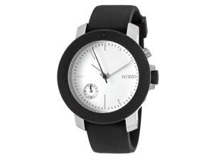 Nixon A317000-00 Women's Raider Black Silicone White Dial Crystal Accent Watch