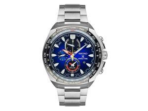 SEIKO MEN'S 44MM STEEL BRACELET & CASE QUARTZ BLUE DIAL ANALOG WATCH SSC549