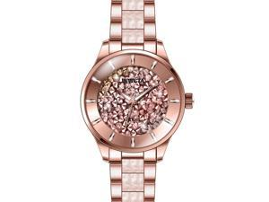 INVICTA WOMEN'S ANGEL ROSE GOLD-TONE STEEL BRACELET & CASE QUARTZ WATCH 24663