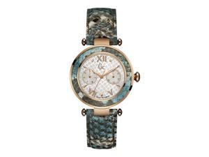 GUESS COLLECTION WOMEN'S LADY CHIC LEATHER BAND QUARTZ MOP DIAL WATCH Y09002L1
