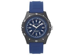 Men's Nautica Ibiza Black And Blue Silicone Strap 44mm Watch NAPIBZ008